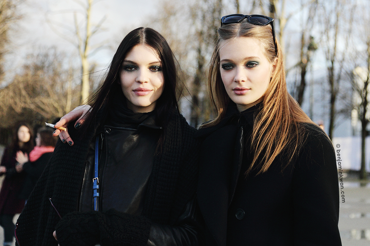 Kate Bogucharskaia and Tanya Katysheva at Elie Saab FW 2014 Paris Snapped by Benjamin Kwan Paris Fashion Week