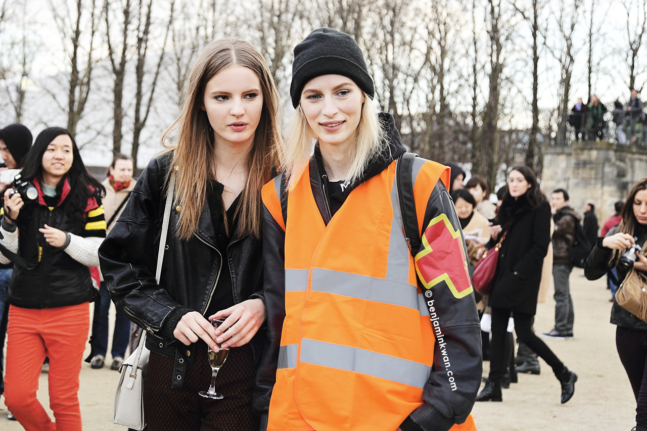 Tilda Lindstam and Julia Nobis at Valentino FW 2014 Paris Snapped by Benjamin Kwan Paris Fashion Week