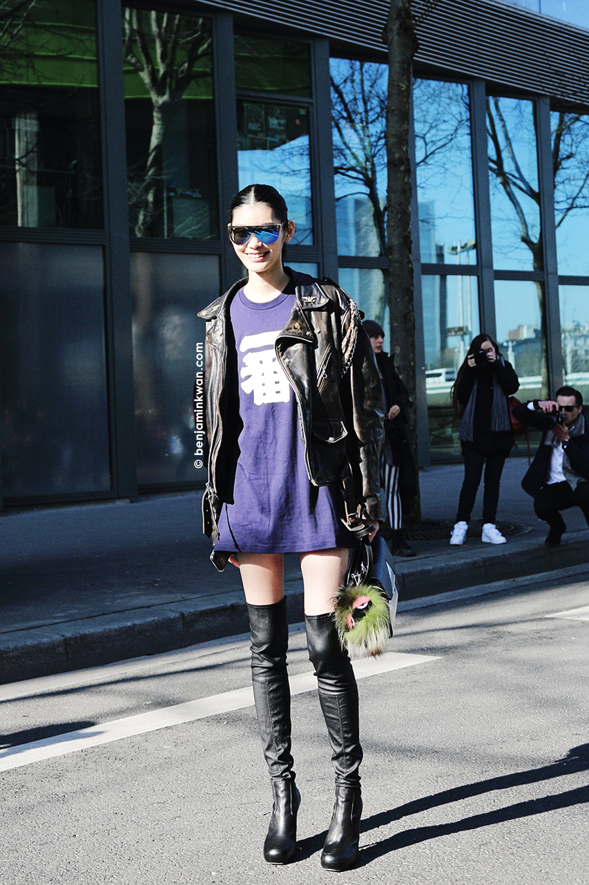 Ming Xi at Kenzo FW 2014 Paris Snapped by Benjamin Kwan     Paris Fashion Week