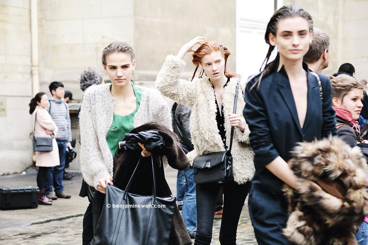 Ona Marija, Anastasia Ivanova and Carolina Thaler at Ann Demeulemeester FW 2014 Paris Snapped by Benjamin Kwan Paris Fashion Week