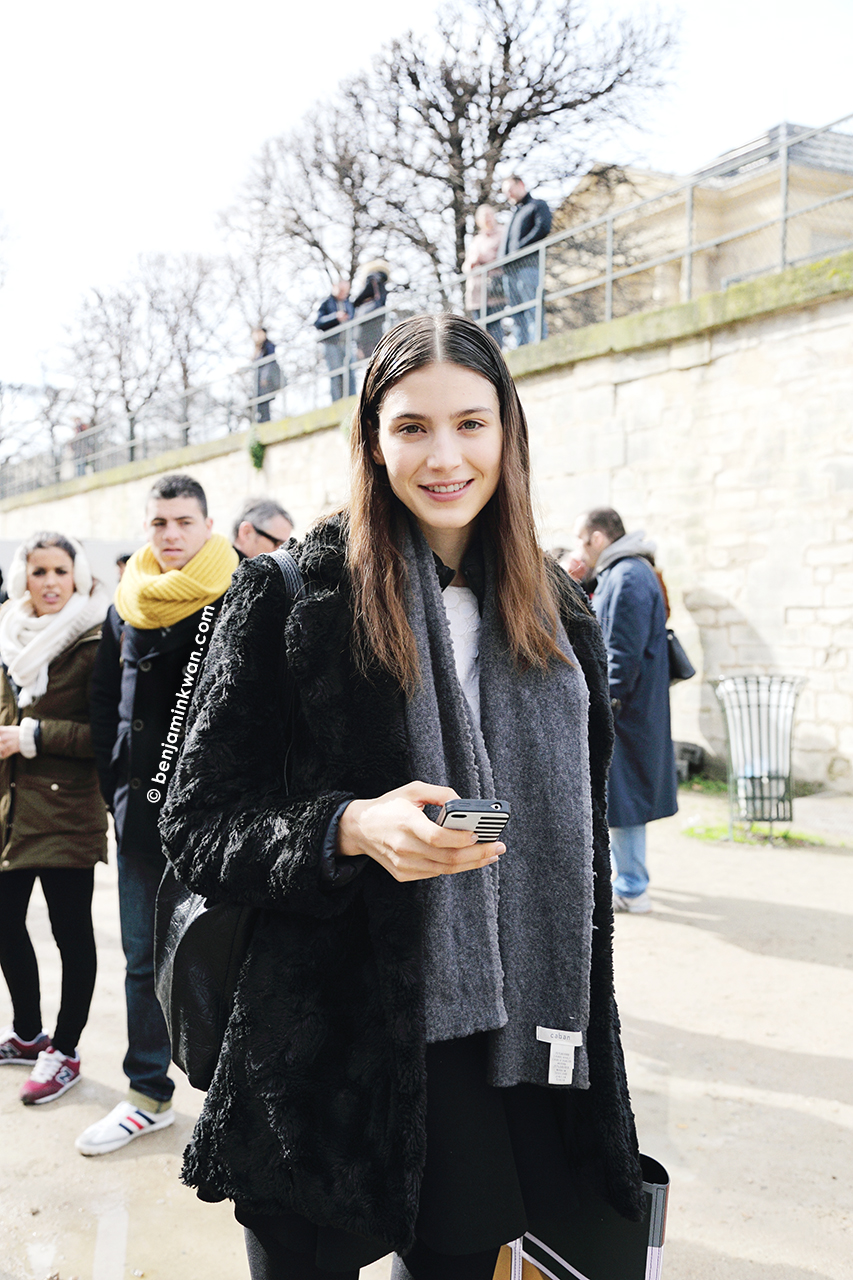 Giuliana Caramuto at Issey Miyake  FW 2014 Paris Snapped by Benjamin Kwan     Paris Fashion Week
