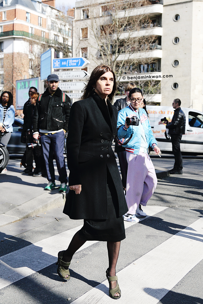 Carine Roitfeld at Celine FW 2014 Paris Snapped by Benjamin Kwan     Paris Fashion Week