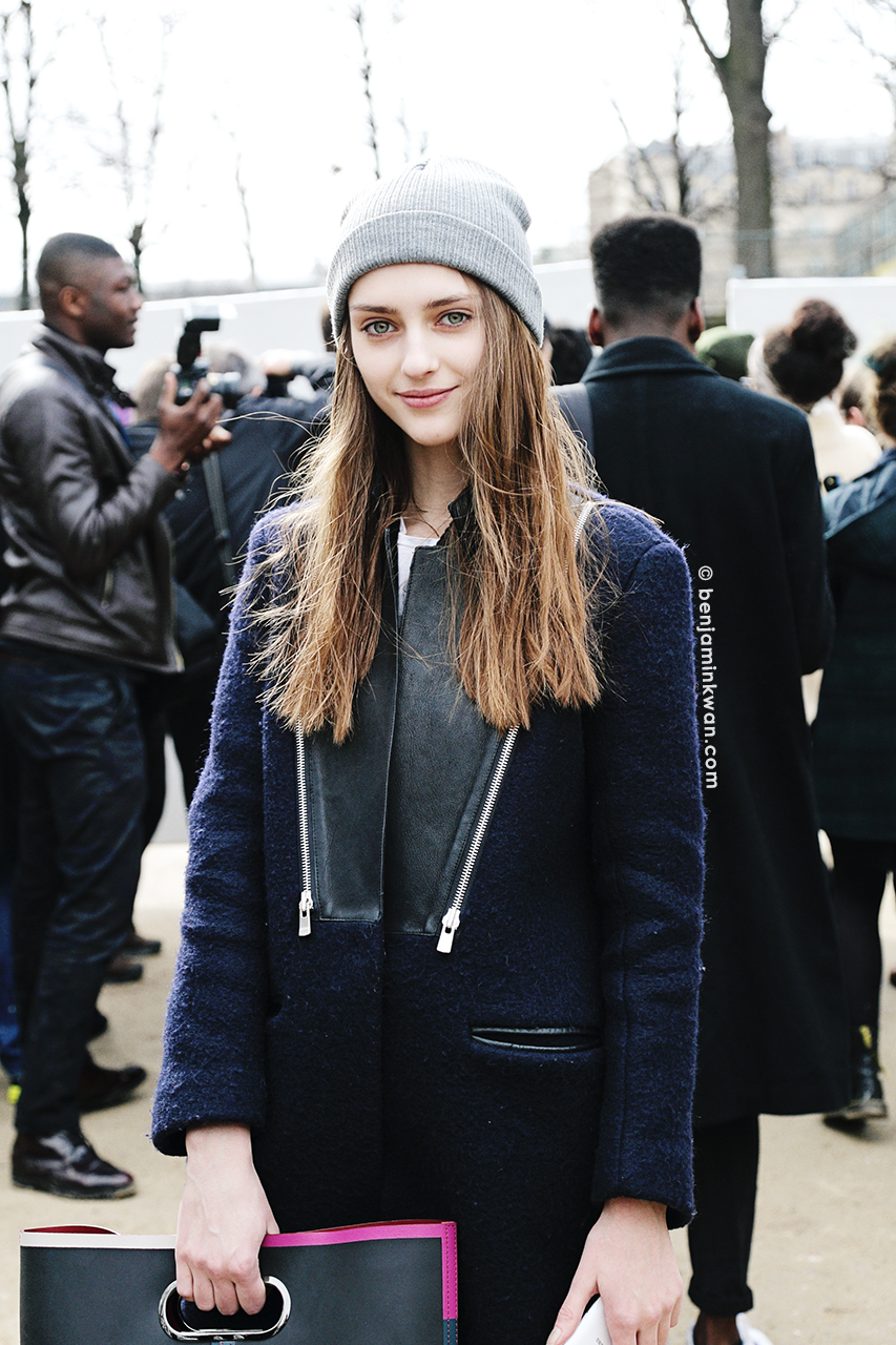 Alexandra Rudakova at Issey Miyake FW 2014 Paris Snapped by Benjamin Kwan     Paris Fashion Week