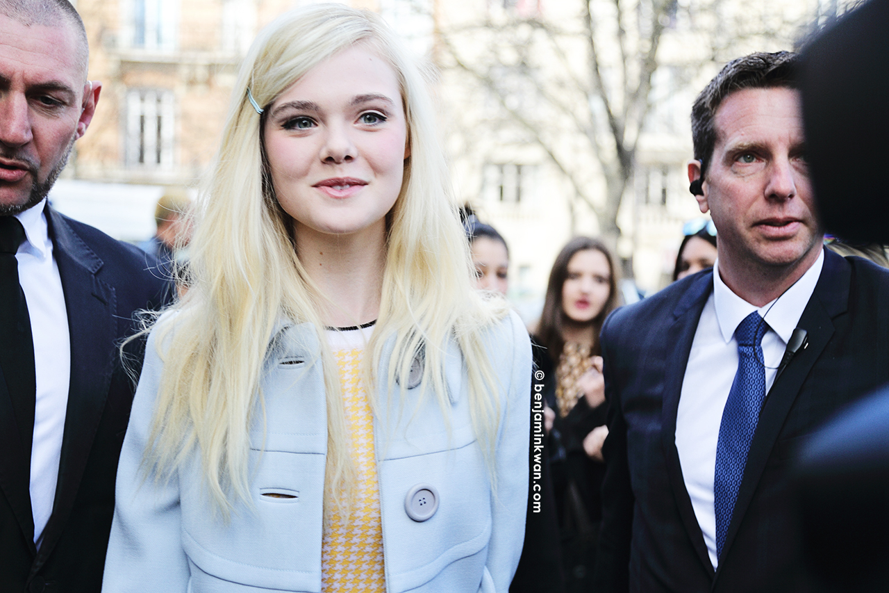 Elle Fanning at Miu Miu FW 2014 Paris Snapped by Benjamin Kwan Paris Fashion Week