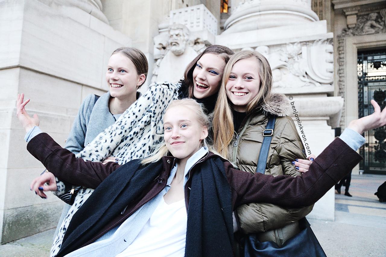 Julie Hoomans, Maggie Jablonski, Feline Hoomans and Eva Berzina at Shiatzy Chen FW 2014 Paris Snapped by Benjamin Kwan Paris Fashion Week
