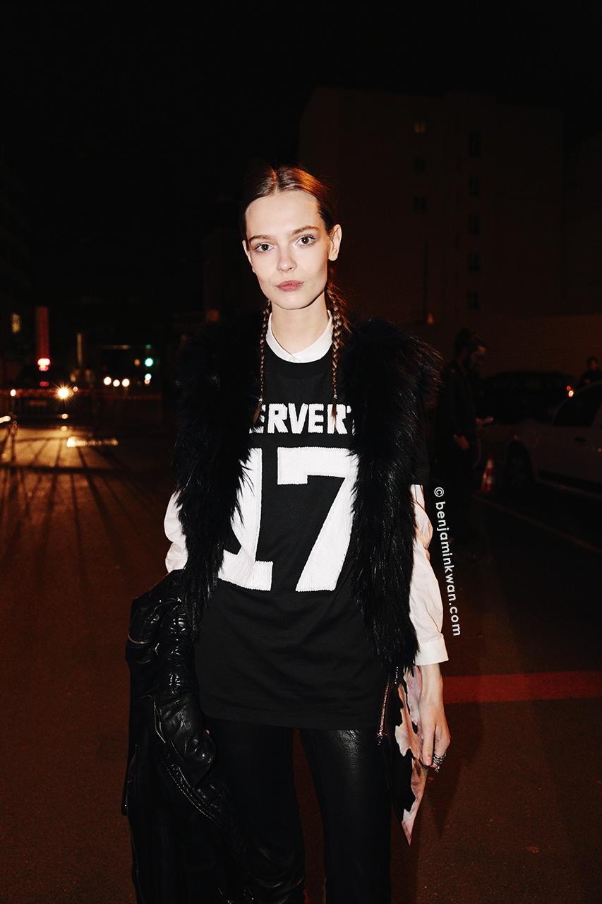 Mina Cventkovic at Givenchy FW 2014 Paris Snapped by Benjamin Kwan Paris Fashion Week