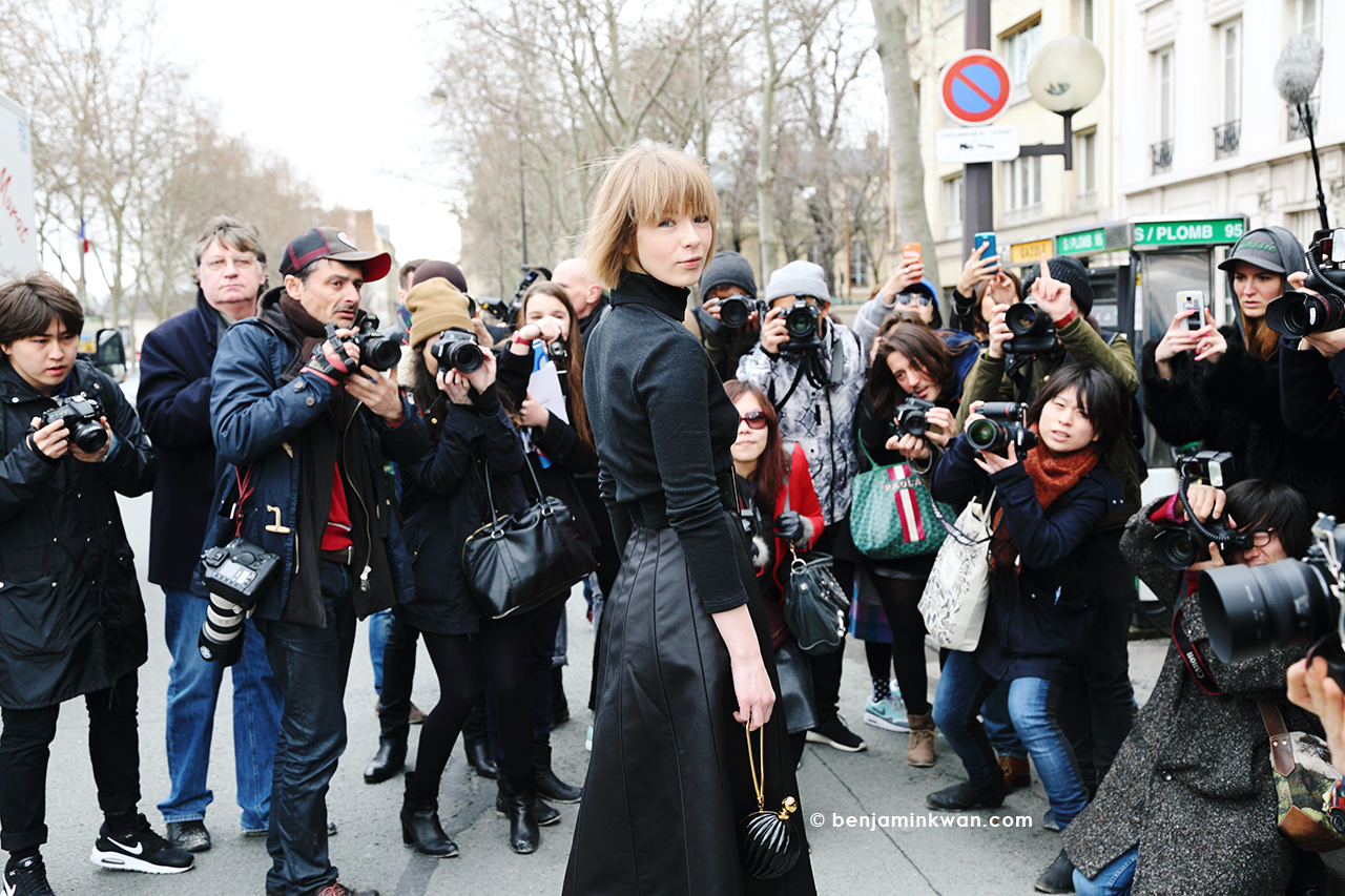 Vika Gazinskaya at Dior FW 2014 Paris Snapped by Benjamin Kwan     Paris Fashion Week