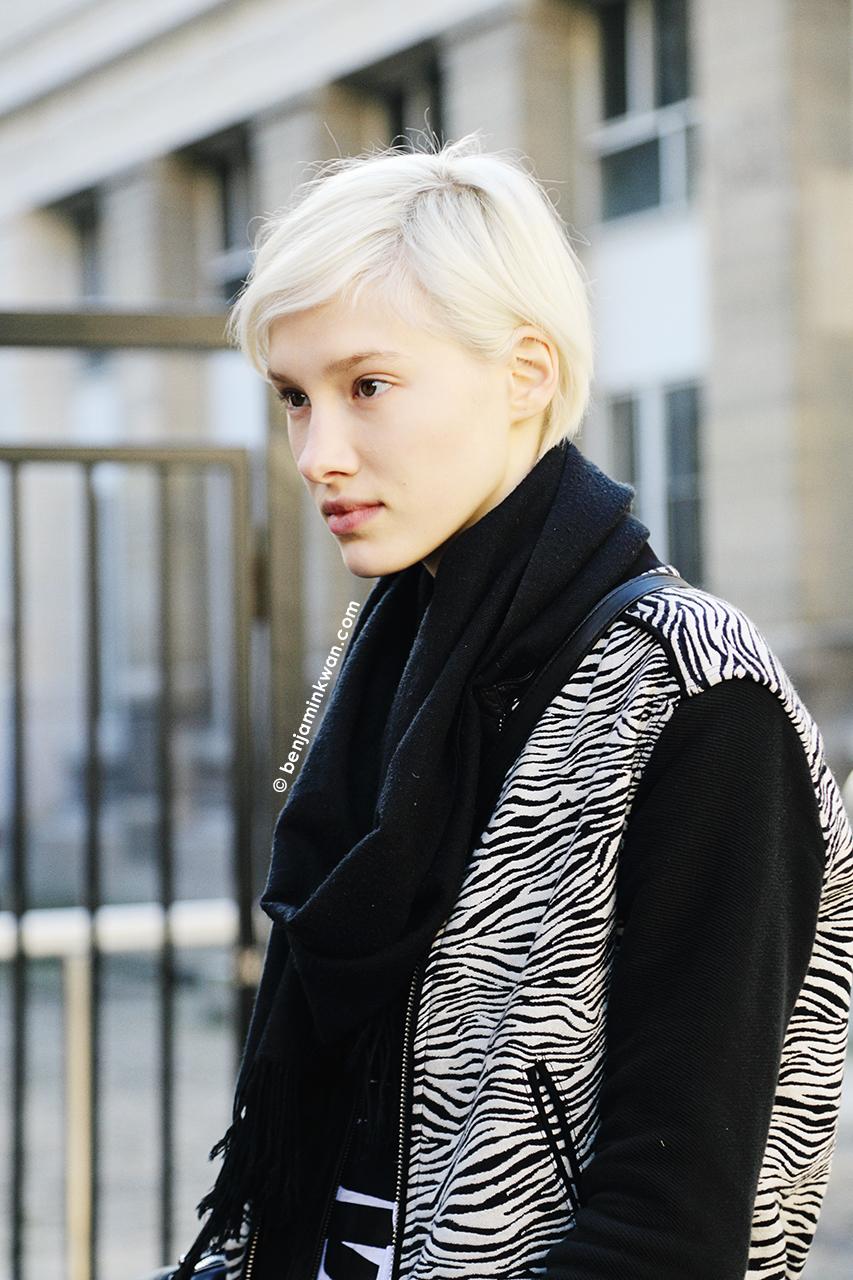 Solomiya Zgoda at Moncler Gamme Rouge at FW 2014 Paris Snapped by Benjamin Kwan Paris Fashion Week