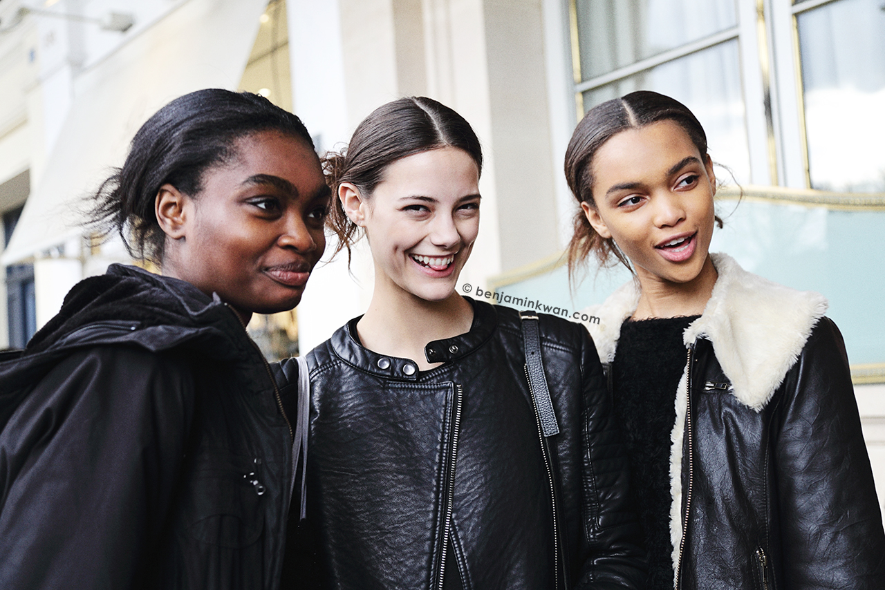 Kayla Clarke, Anja Leuenberger and Samantha Archibald at Junko Shimada FW 2014 Paris Snapped by Benjamin Kwan Paris Fashion Week