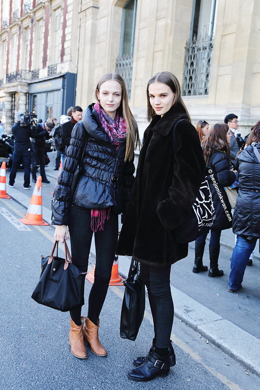 Jessica Bergs and Ona Marija at Andrew Gn at FW 2014 Paris Snapped by Benjamin Kwan     Paris Fashion Week