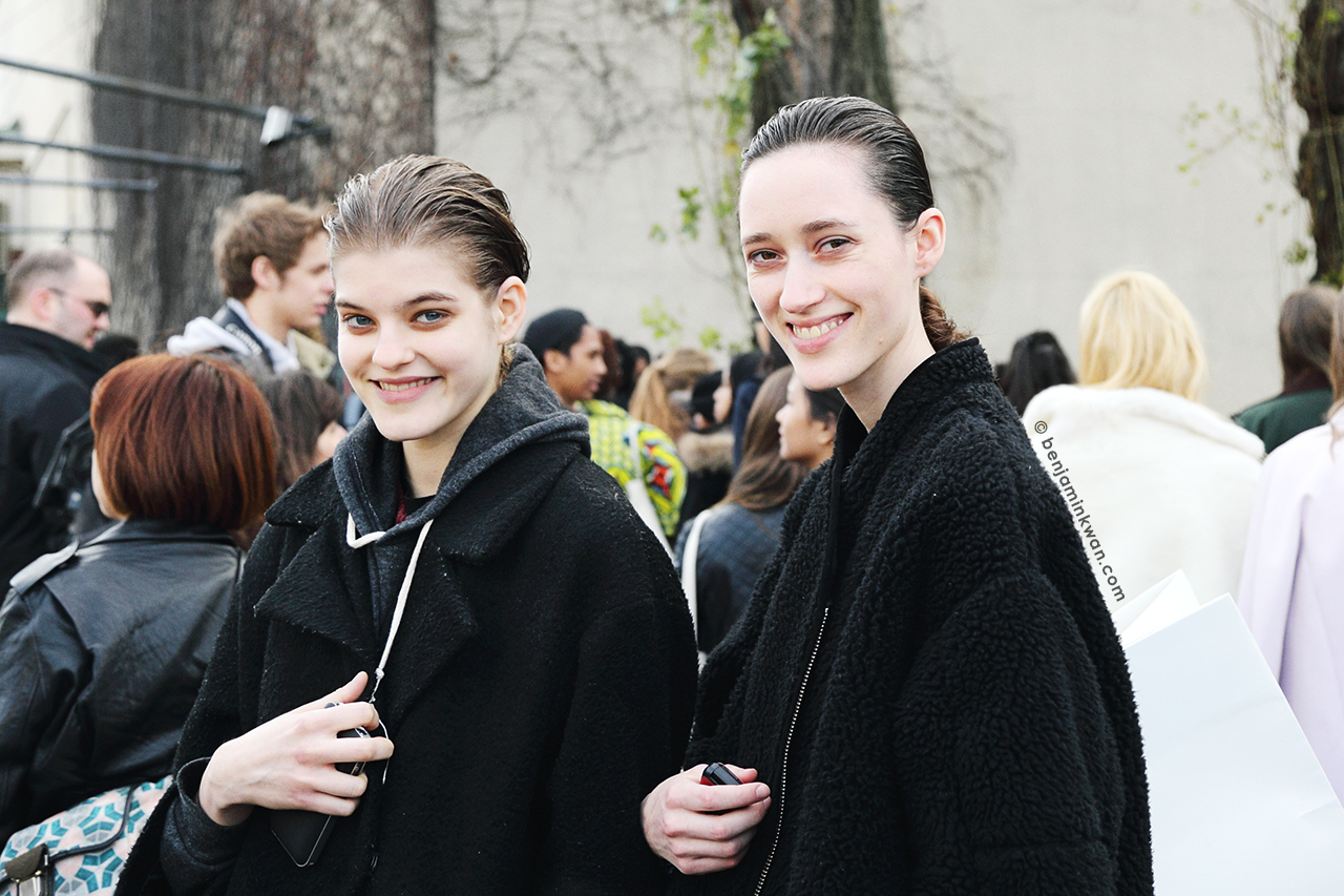 Kia Low and Helena Severin at Celine FW 2014 Paris Snapped by Benjamin Kwan Paris Fashion Week
