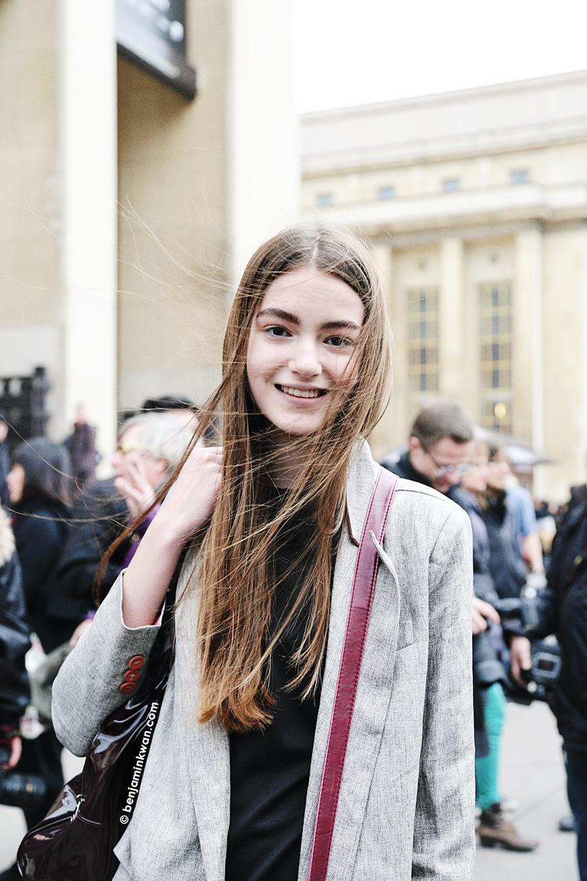Scarlett Gray at Sacai FW 2014 Paris Snapped by Benjamin Kwan Paris Fashion Week