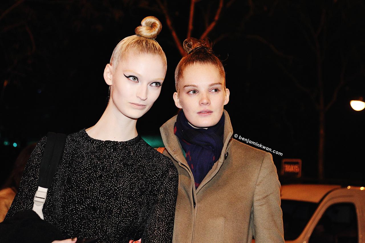 Helena Greyhorse and Alexina Graham at Jean Paul Gaultier FW 2014 Paris Snapped by Benjamin Kwan     Paris Fashion Week