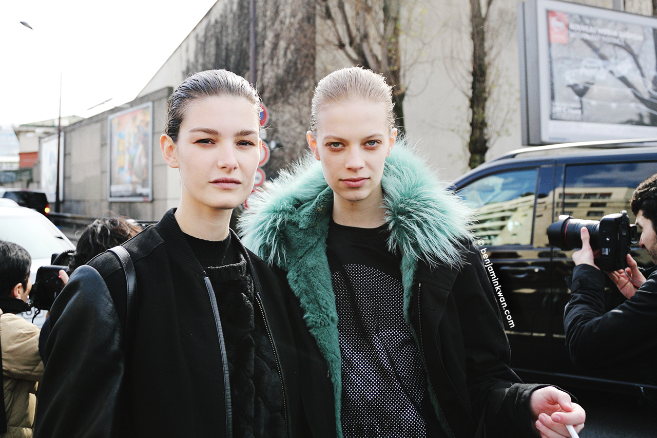 Ophelie Guillermand and Lexi Boling at Celine FW 2014 Paris Snapped by Benjamin Kwan     Paris Fashion Week