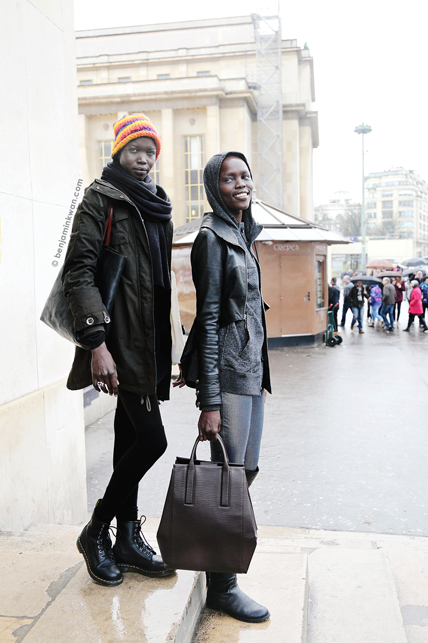 Nykhor Paul and Grace Bol at Haider Ackermann FW 2014 Paris Snapped by Benjamin Kwan Paris Fashion Week