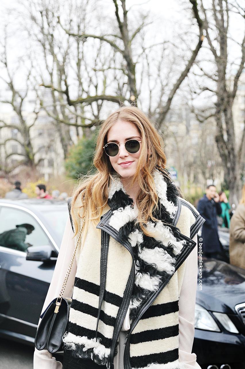 Chiara Ferragni at Chloe FW 2014 Paris Snapped by Benjamin Kwan Paris Fashion Week