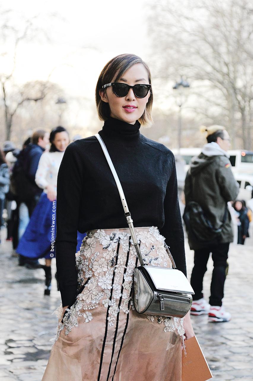 Chriselle Lim at Vanessa Bruno FW 2014 Paris Snapped by Benjamin Kwan Paris Fashion Week