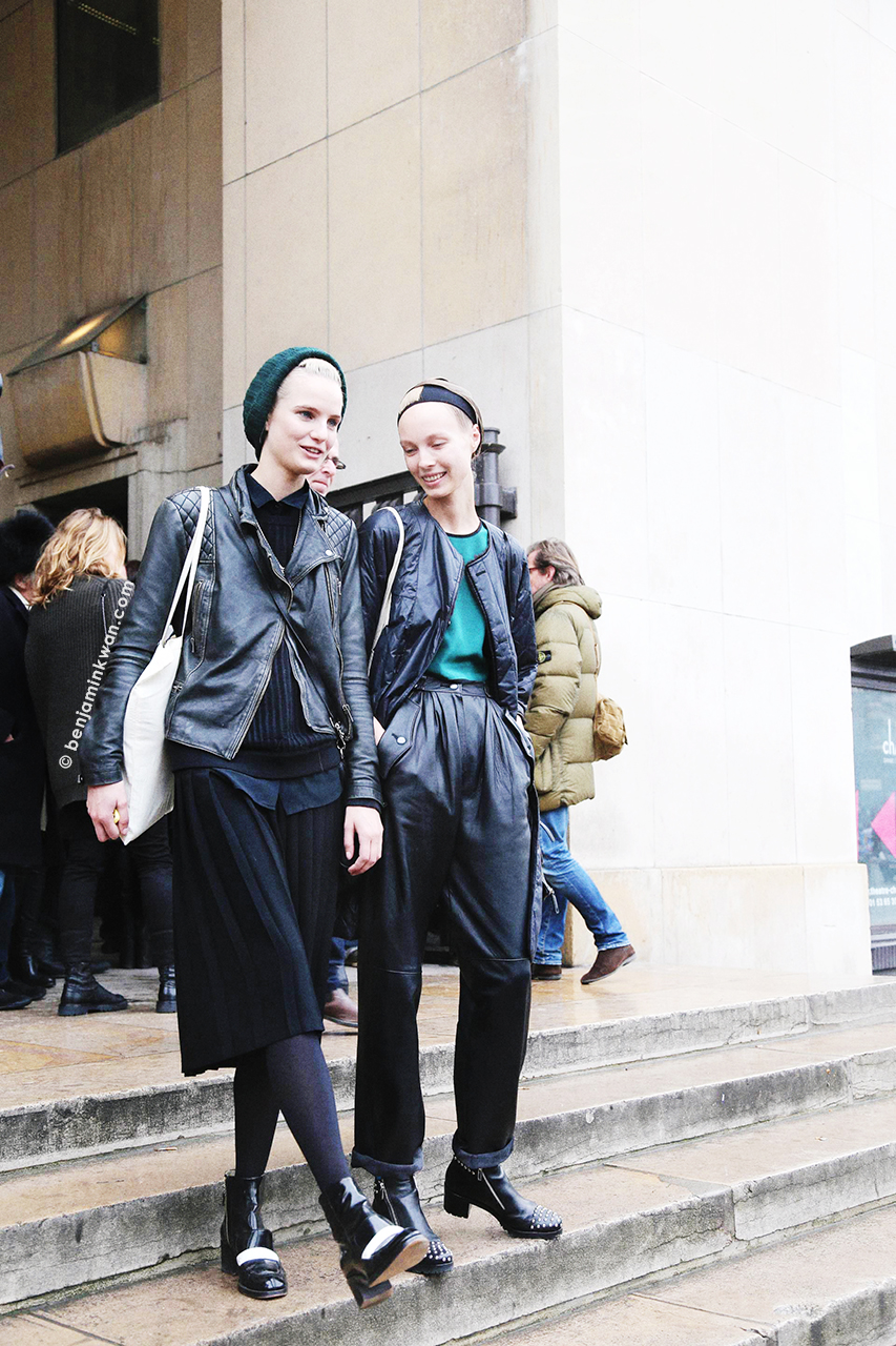 Anmari Botha and Kristy Kaurova at Haider Ackermann     FW 2014 Paris Snapped by Benjamin Kwan Paris Fashion Week