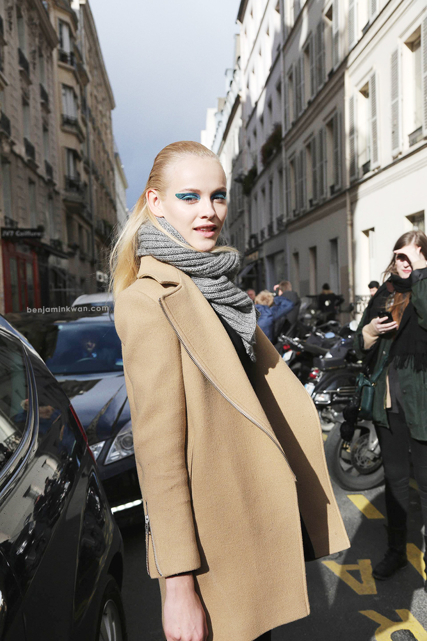 Ginta Lapina at Dior FW 2014 Paris Snapped by Benjamin Kwan Paris Fashion Week