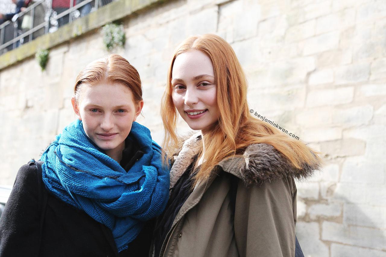 Aine O'Gorman and Zazoe van Lieshout at Issey Miyake FW 2014 Paris Snapped by Benjamin Kwan Paris Fashion Week