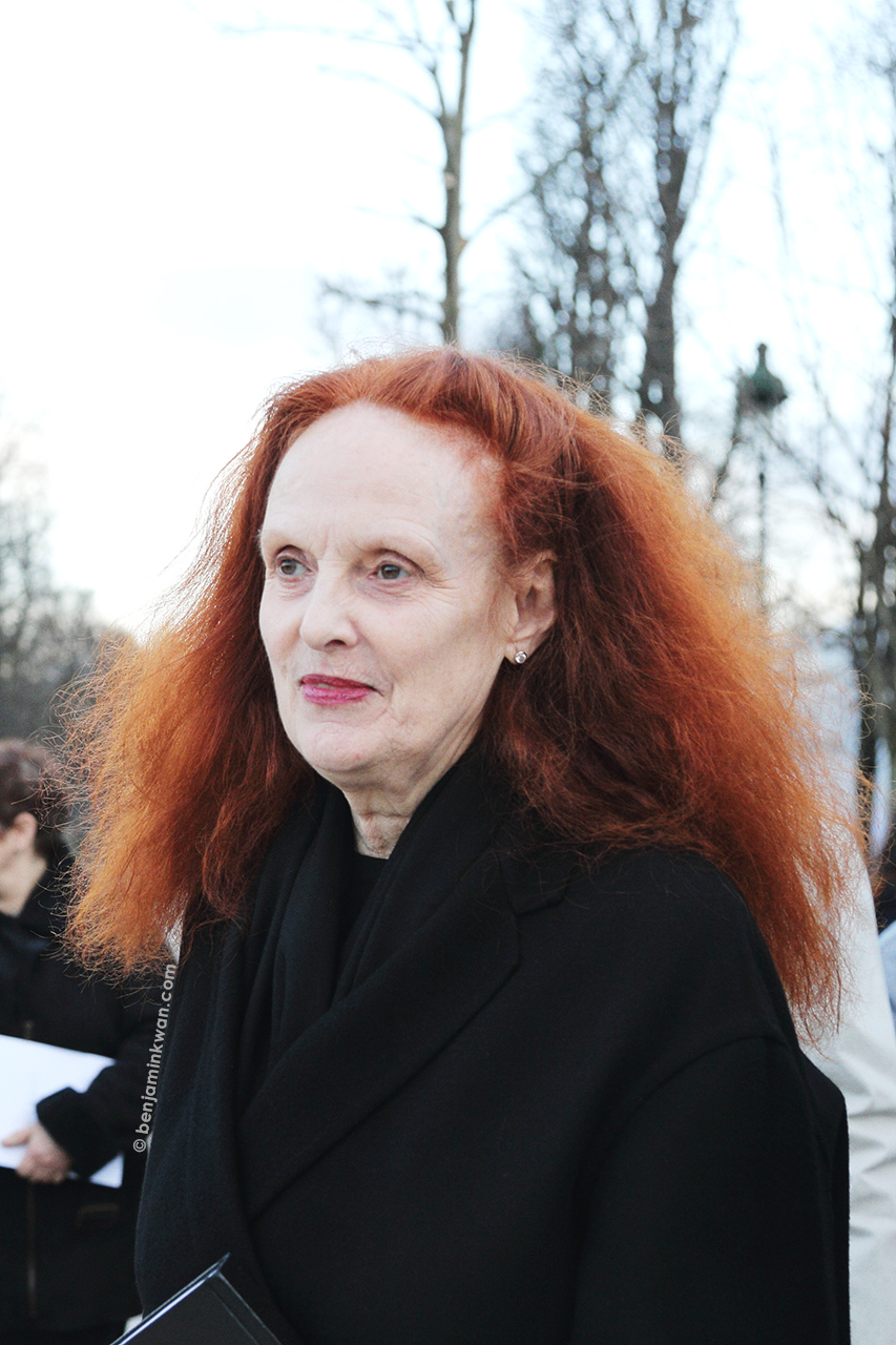 Grace Coddington at Nina Ricci     FW 2014 Paris Snapped by Benjamin Kwan     Paris Fashion Week