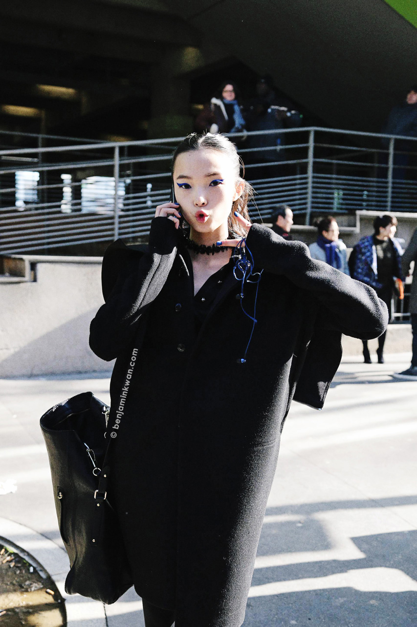 Xiao Wen Ju at Kenzo     FW 2014 Paris Snapped by Benjamin Kwan     Paris Fashion Week