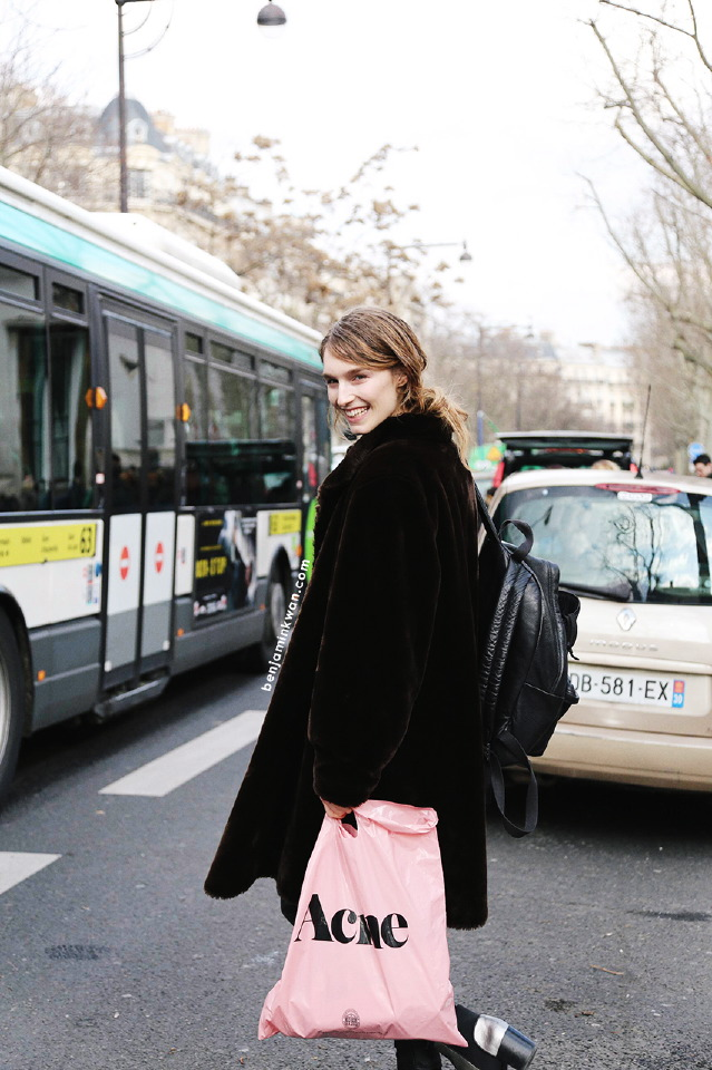 Manuela Frey at Acne Studios FW 2014 Paris Snapped by Benjamin Kwan Paris Fashion Week