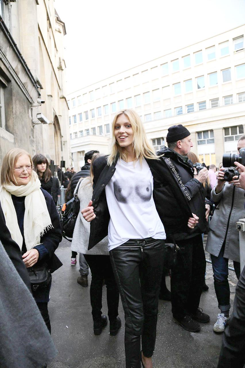 Anja Rubik at Isabel Marant FW 2014 Paris Snapped by Benjamin Kwan Paris Fashion Week