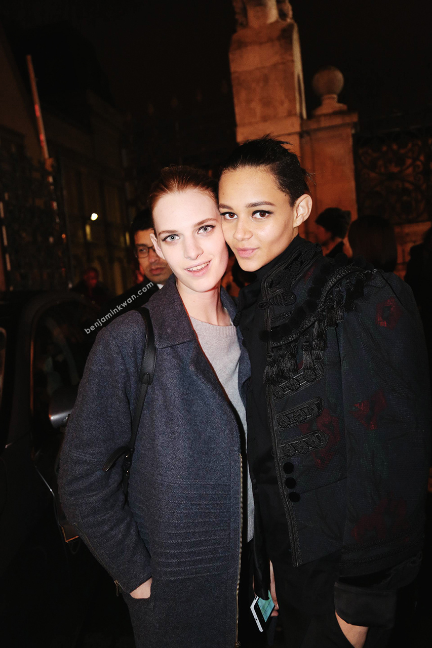 Ashleigh Good and Binx Walton at Lanvin FW 2014 Paris Snapped by Benjamin Kwan Paris Fashion Week
