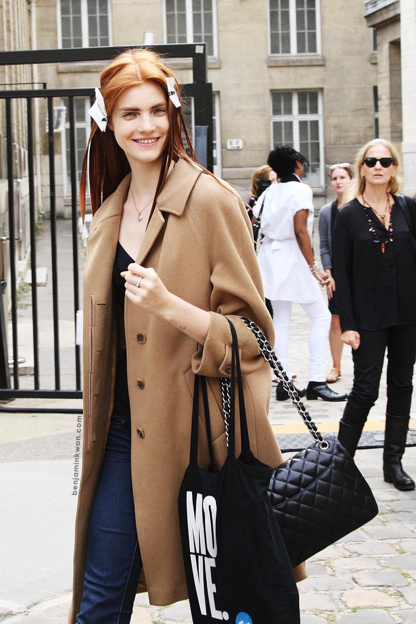 Anastasia Ivanova at Ann Demeulemeester     SS 2014 Paris Snapped by Benjamin Kwan