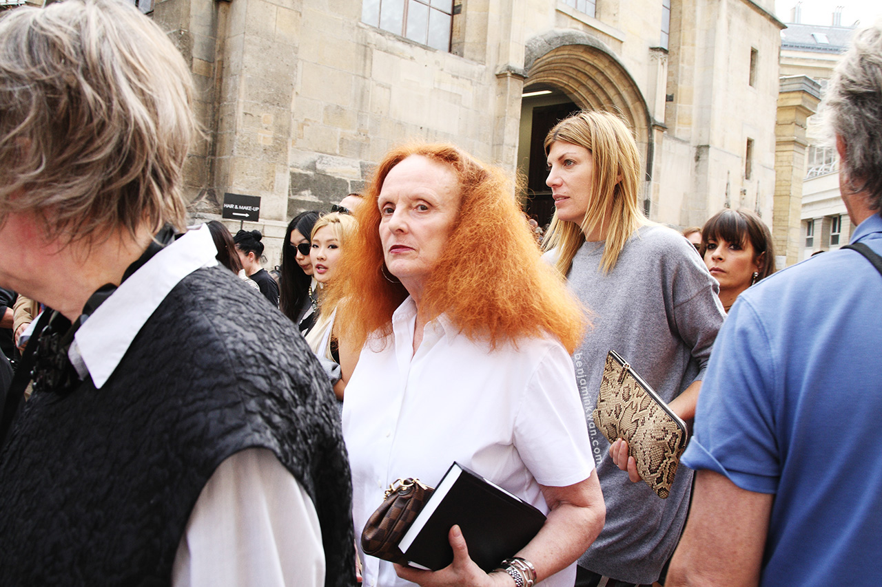 Grace Coddington and Virginia Smith at Ann Demeulemeester     SS 2014 Paris Snapped by Benjamin Kwan