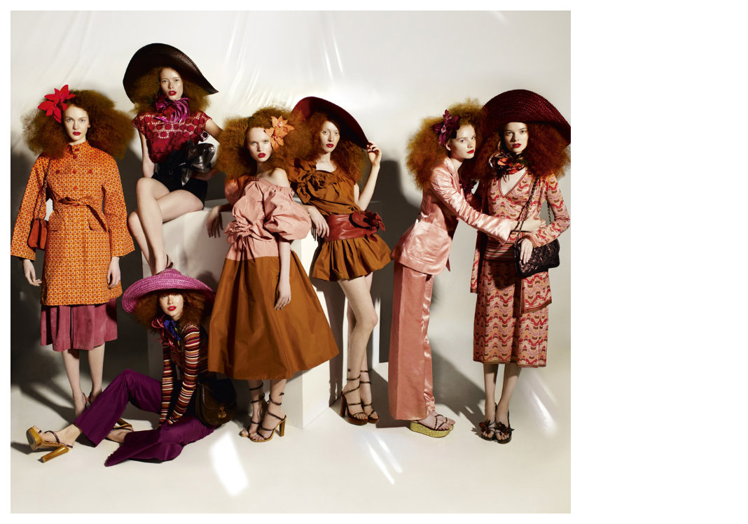 "Kate Somers + Julia Hafstrom + Julia Johansen + Luisa Bianchin + Chantal Stafford-Abbott + Donna Loos + Gwen Loos Grace Coddington + Mario Testino = ""Gangs of New York"" Vogue US circa 2011 Frocks = Marc Jacobs"