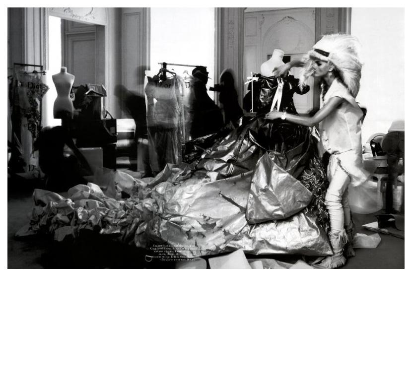 "Sasha Pivovarova + Emmanuelle Alt + Peter Lindbergh = ""Dans La Peau De John Galliano"" Vogue Paris circa 2006 Frocks = John Galliano Homme + Charvet + D & G Men + Diesel + Rolex ""Day Date"""