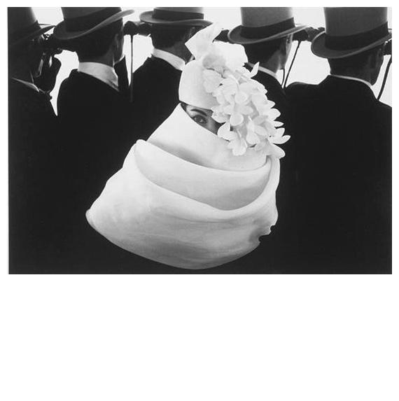 "Frank Horvat = ""Givenchy Hat A"" Jardin des Modes circa 1958 Frocks = Givenchy"