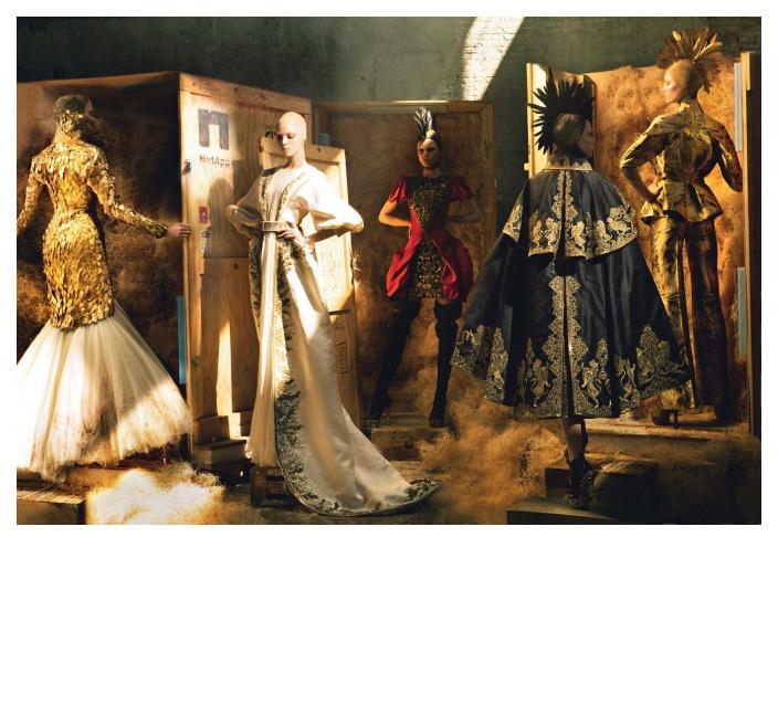 Irina Kulikova + Tanya D. + Frida Gustavsson + Raquel Zimmerann + Karlie Kloss + Annie Leibovitz = A Nobel Farewell Vogue circa 2010 Frocks = Alexander McQueen