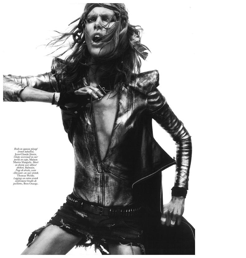 "Iselin Steiro + Emmanuelle Alt + David Sims = ""Commando"" Vogue Paris circa 2010 Frocks = Balmain + Maison Martin Margiela + Boss Orange + Jean-Claude Jitrois + Thomas Wylde"