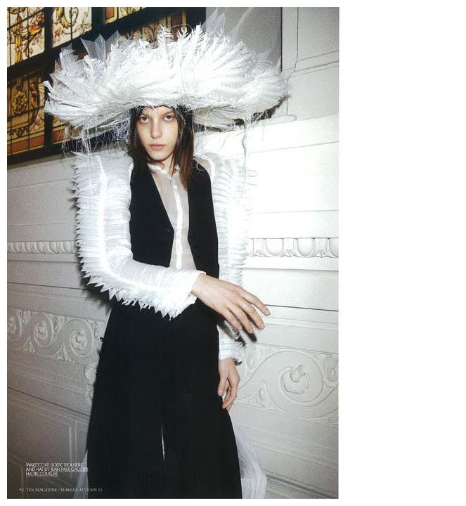 Tati Cotliar + Jodi Barnes + Andrea Potorno = Ten Magazine circa 2010   Frocks = Jean Paul Gaultier Haute Couture