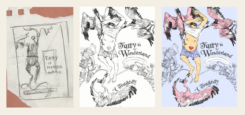 "Thumbnail, sketch, and color comp for ""Fatty in Wonderland"""