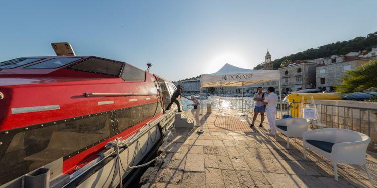 Passenger boarding tender at Hvar