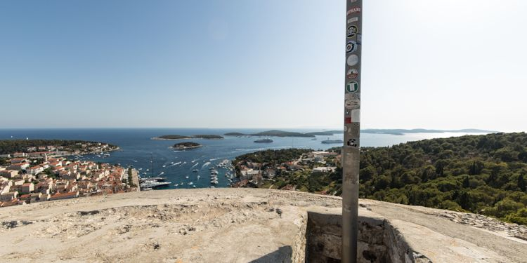 Le Lyrial and harbour from the Hvar Fortress Flagpole