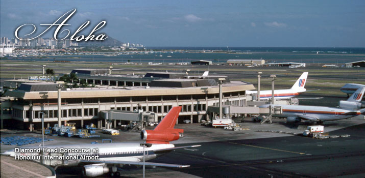 Long ago, only a handful of airlines flew to Hawaii, with most flights landing in Honolulu. Amazingly, this photograph still appears on the home page for Honolulu's airport.