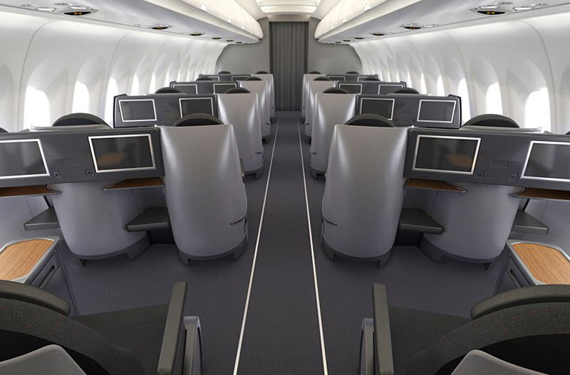 As of this writing, American hasn't said its exact plans for new business class  seats on its long-range 757s. But I suspect it the cabin will look a lot like business class on the A321 flying between New York and Los Angeles. Photo: American Airlines.