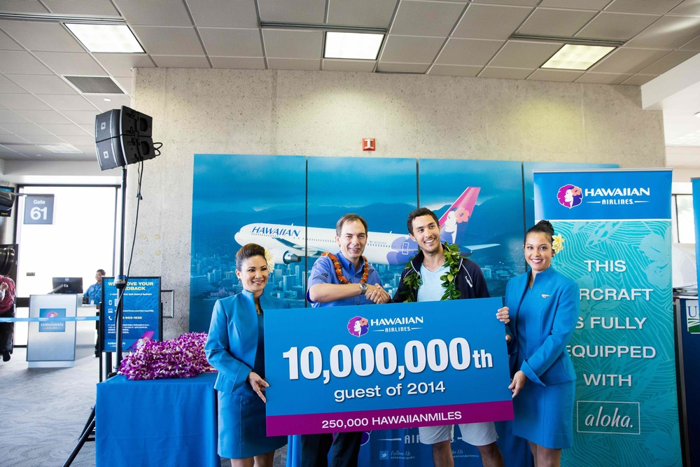 Hawaiian Airlines celebrated its 10 millionth passenger of 2014. Photo: Hawaiian Airlines.