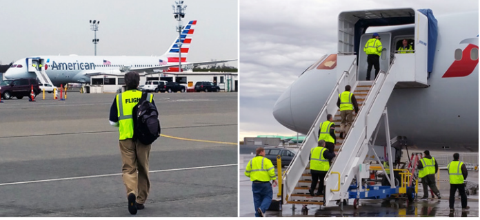 In these American Airlines photos, crews prepare to accept delivery of the airline's first Boeing 787. The man on the left is American test pilot David Hensley.