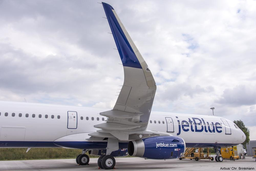 "Those ""sharklets"" at the edges of the wings help JetBlue save 4% in fuel costs on each aircraft. But JetBlue and other airlines still spend a fortune on fuel.  Photo: Airbus."