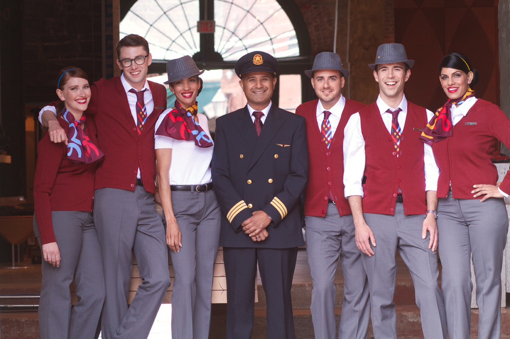 Air Canada Rouge flight attendants have amusing hats: Photo: Air Canada.