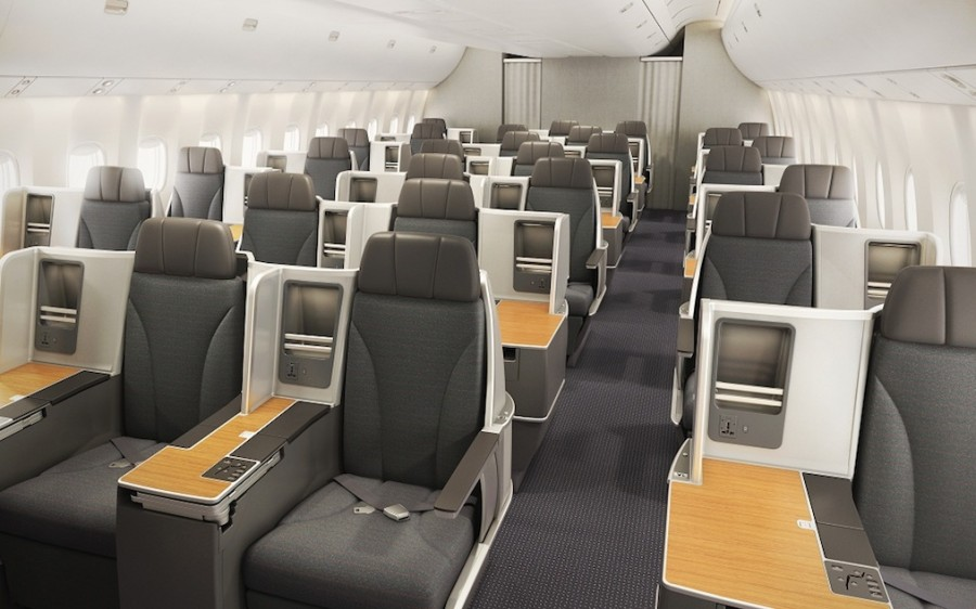 The new business class cabin on American's Boeing 767-300s. Photo: American.