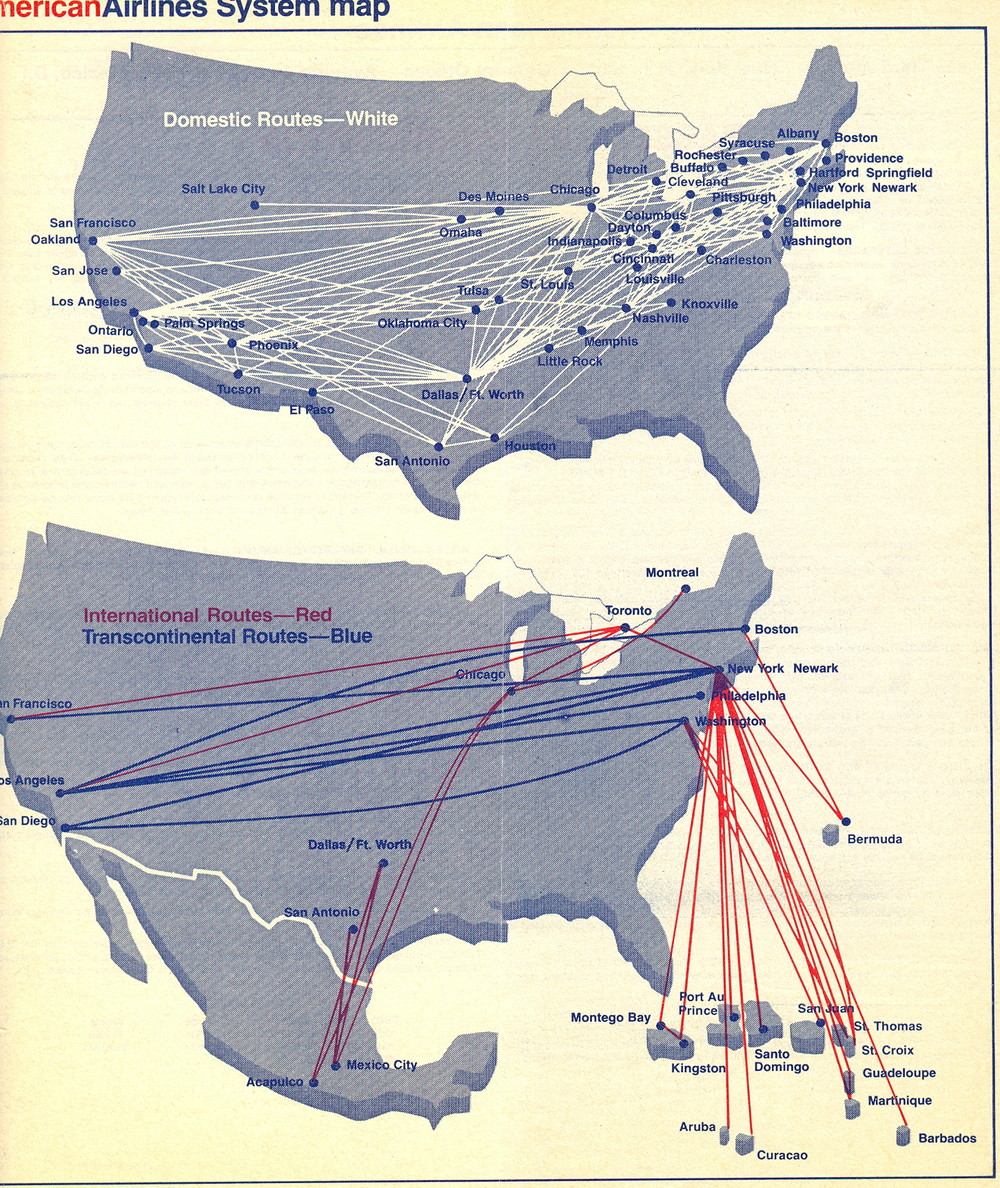 This is American's 1979 route map. Notice what's missing? Europe, Asia and South America.