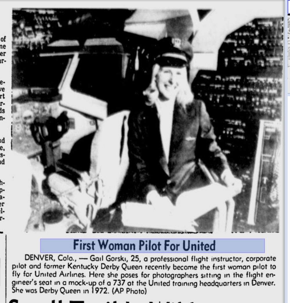 United's first female pilot, Gail Gorski, has died. This photo ran in the Spartanville Herald-Journal on March 12, 1978.