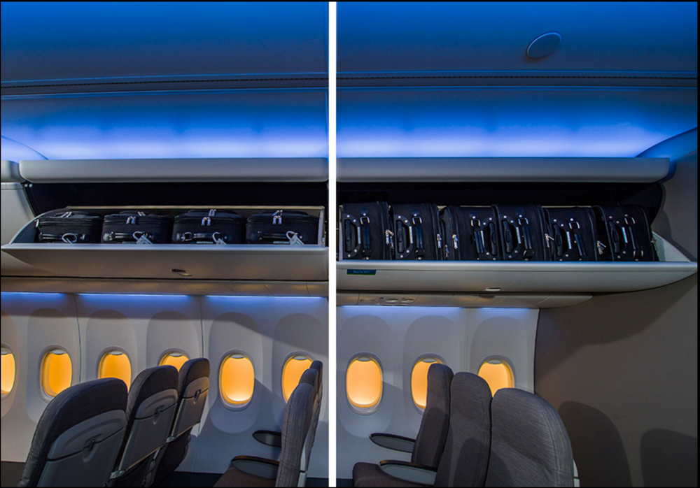 On the left, Alaska's old overhead bins. On the right, Alaska's new overhead bins. Photo: Boeing.